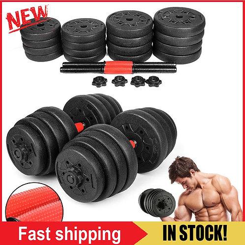2pcs Weight Dumbbell Set Gym Barbell Plates Rubber-Coated Dumbbells  30kg