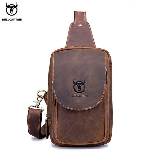 Crossbody  Horse Leather Chest Bag's  Retro  Zip Pocket Short Travel Bag