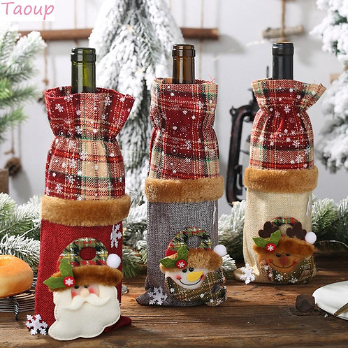 Merry Christmas Wine Bottle Cover Ornaments Christmas Table Decoration