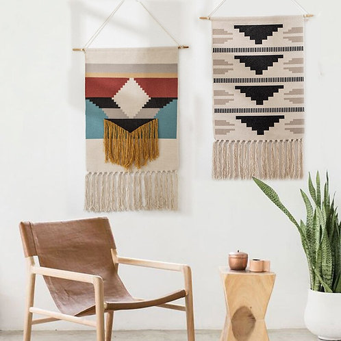 Tapestry Bohemian Cotton Linen Tapestry With Tassel Handmade Nodic Style