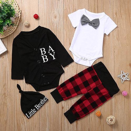 New born Baby Boy Clothes Baby Letter Romper Bowknot Bodysuit Pants  Hat 4PCS