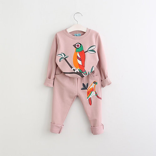 Boys Girls Clothing Set Bird Print  Tracksuit