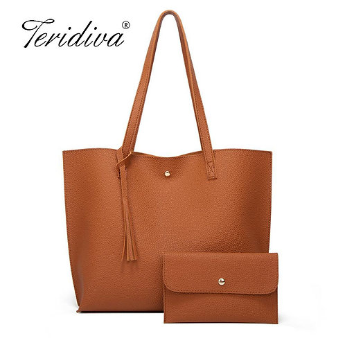 Women Soft Leather Shoulder Large Capacity Tote Bag