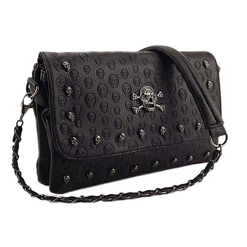 Women's Studded Skull Messenger Bags Rivet Envelope Mini Clutch Bags Envelope