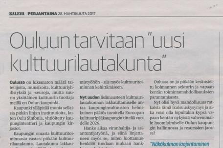 """Ouluun tarvitaan """"uusi kulttuurilautakunta"""""""