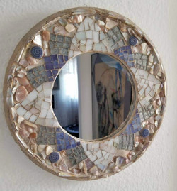 mosaic mirror shells and glass