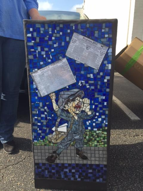 Newspaper box mosaic