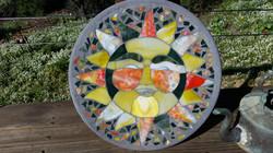 Garden sun mosaic stepping stone