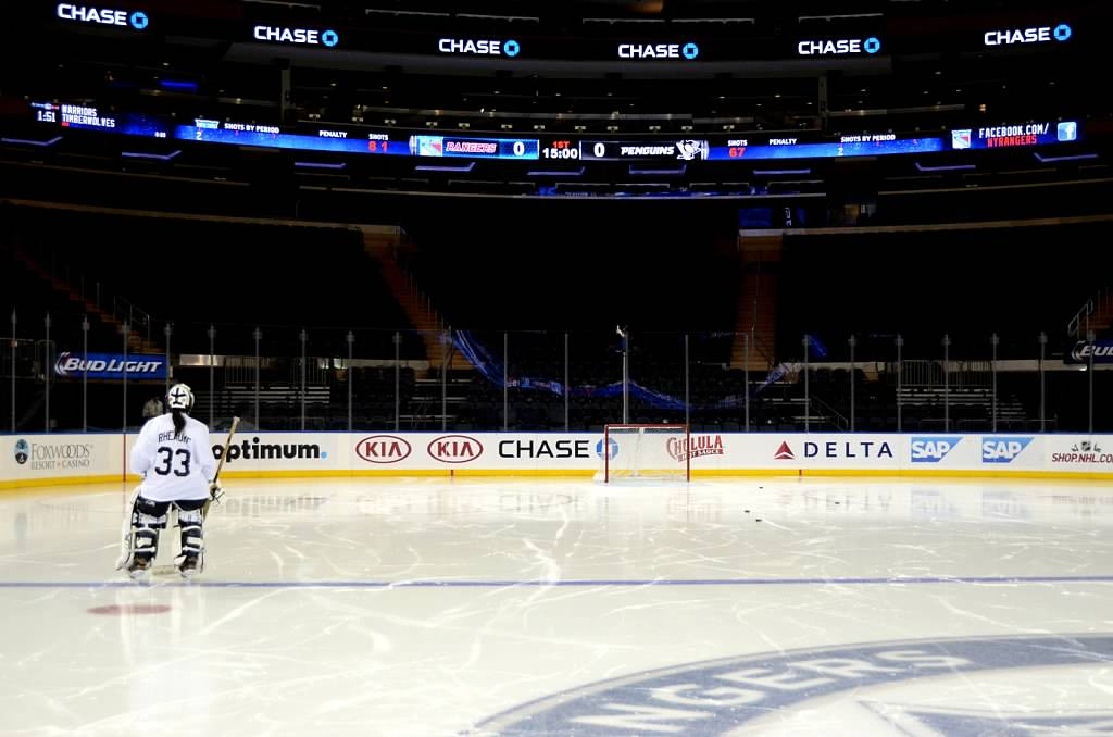 On the ice at Madison Square Garden.
