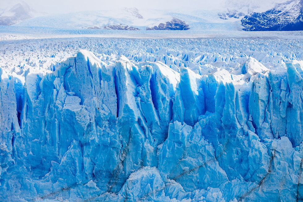 Blue ice sheets and ice cliffs in Antarctica