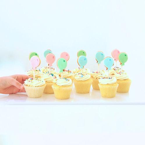 Cookie Balloon Cupcakes