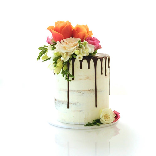 Tall Semi Naked Cake with Chocolate Drip and Seasonal Flowers
