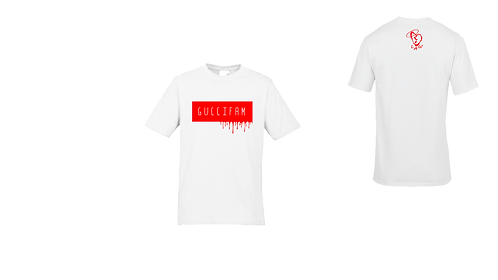 White/Red Drippy Tee