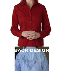 Ladies Wing Design Dress Shirt