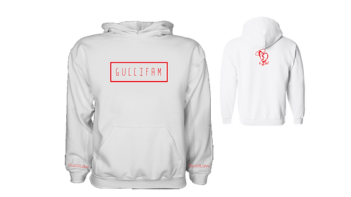 White/Red Simple Hoodie