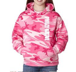 Girls Short Sleeve Pink Camo Hoody