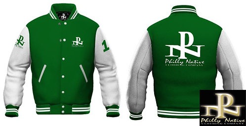 PHILLY NATIVE  WOOL/LEATHER VARSITY JACKET