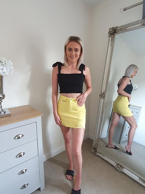Denim Distressed High Waisted Skirt