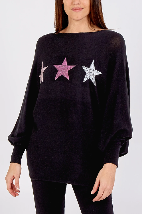 Black Tri-Star Rib Knit Jumper