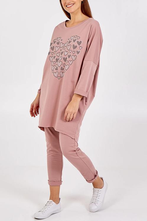 Blush Pink Heart Oversized Loungewear Set