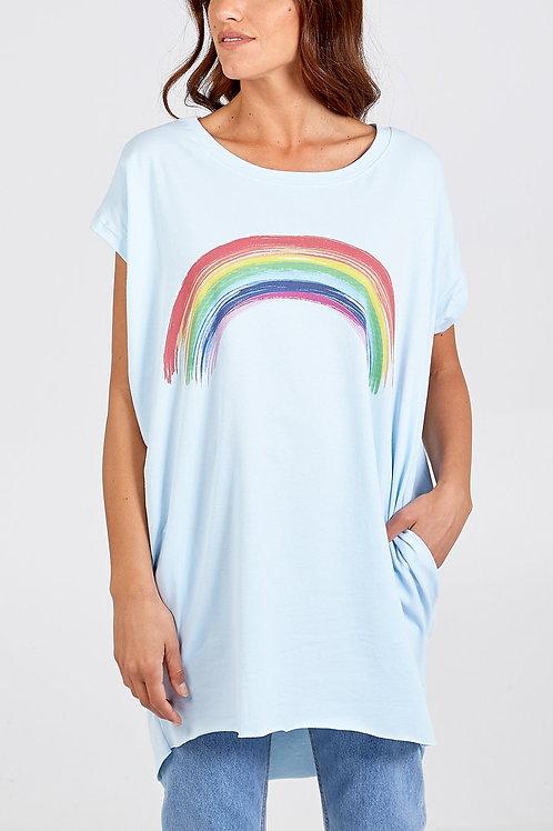 Oversized Light Blue Rainbow T'Shirt