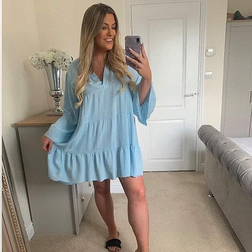 Pale Blue Smock Dress