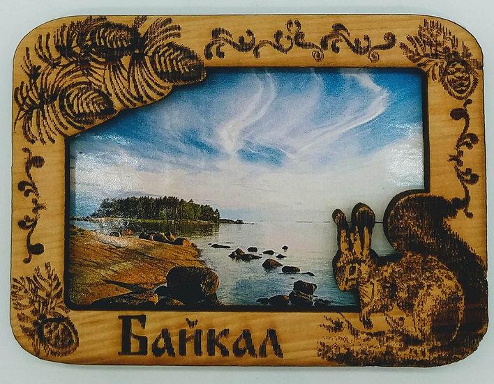 Магнит кедровый с видами Байкала