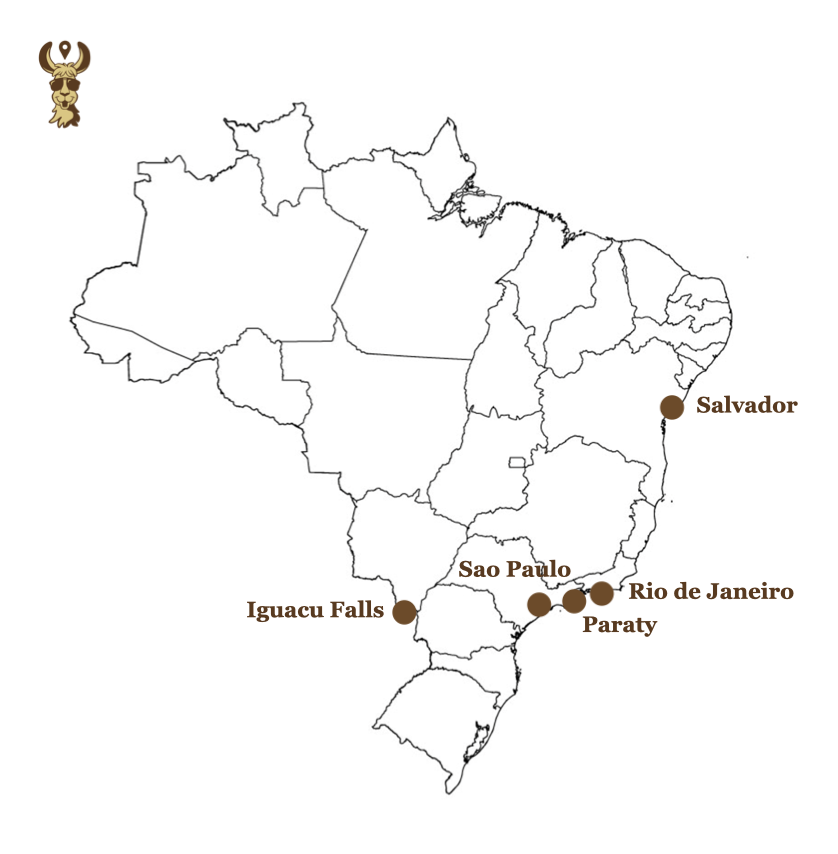 A map of Brazil highlighting the best places to visit in two weeks