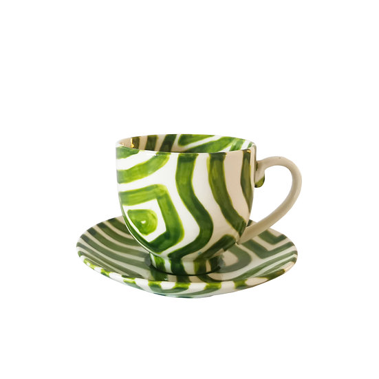 Personalised Green Ceramic Espresso Cup and Saucer