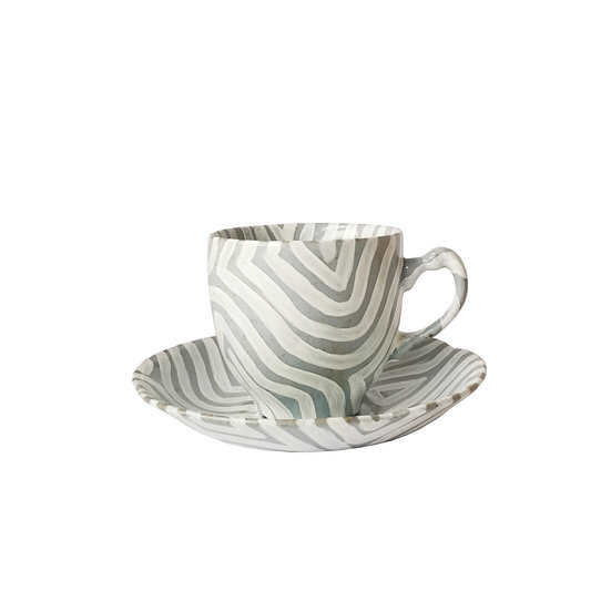 Grey and White Teacup and Saucer