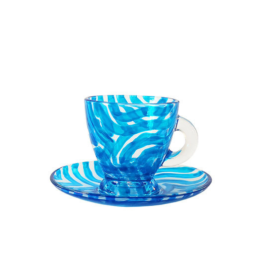 Personalised Blue Glass Espresso Cup & Saucer