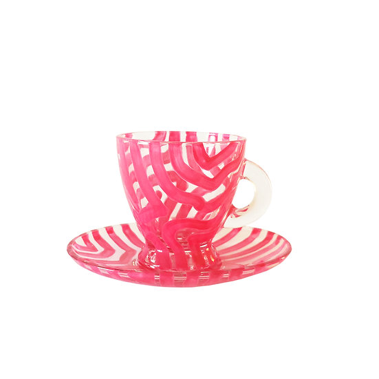 Personalised Pink Glass Espresso Cup & Saucer