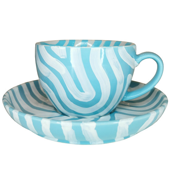 Personalised Light Blue Ceramic Coffee Cup and Saucer
