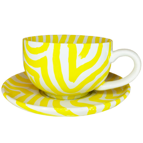 Personalised Yellow Ceramic Coffee Cup and Saucer