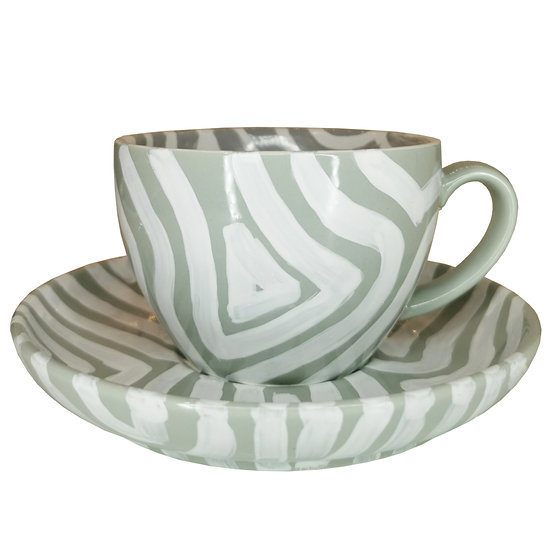 Personalised Grey Ceramic Coffee Cup and Saucer