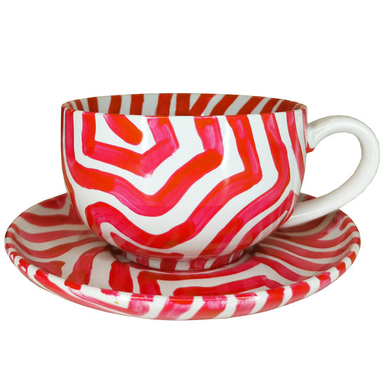 Personalised Red Ceramic Espresso Cup and Saucer