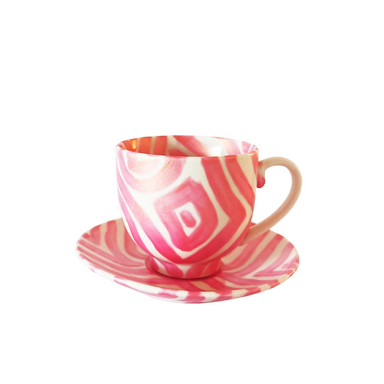 Personalised Pearlescent Pink Ceramic Espresso Cup and Saucer