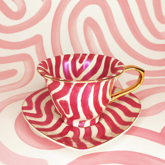 Personalised Shimmer Pink Heart Cup & Saucer