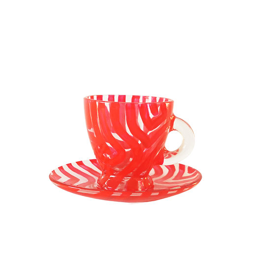 Personalised Red Glass Espresso Cup & Saucer