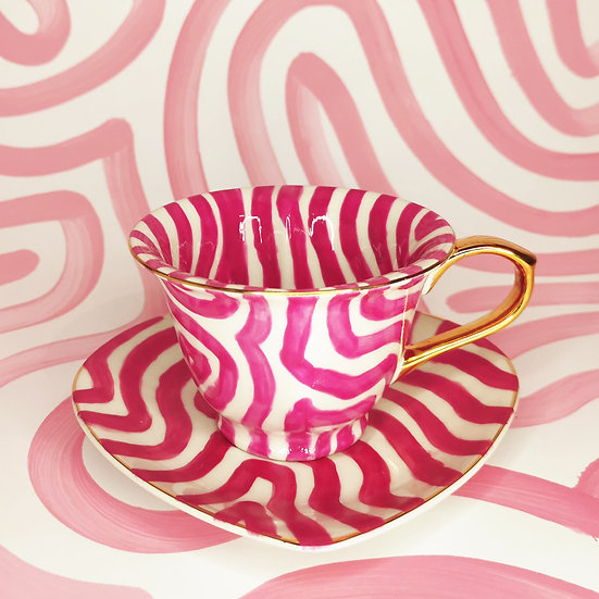 Personalised Dark Pink Heart Cup & saucer