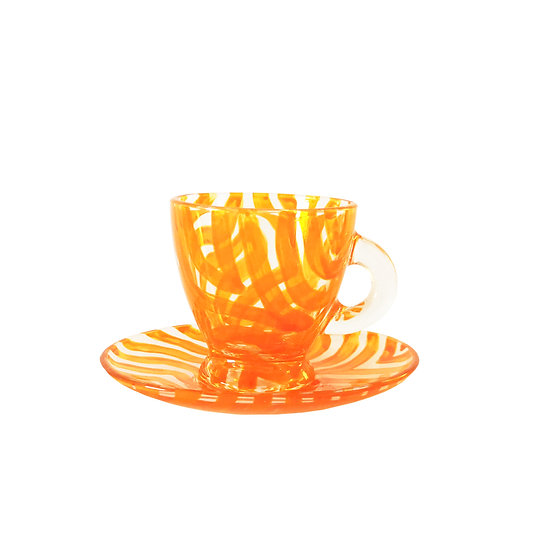 Personalised Orange Glass Espresso Cup & Saucer