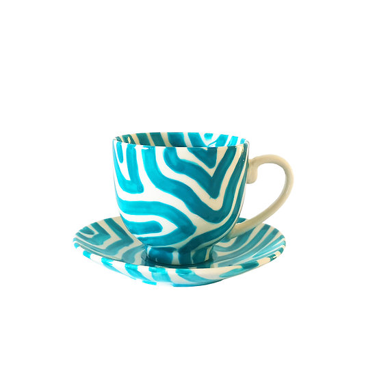 Personalised Turquoise Ceramic Espresso Cup And Saucer