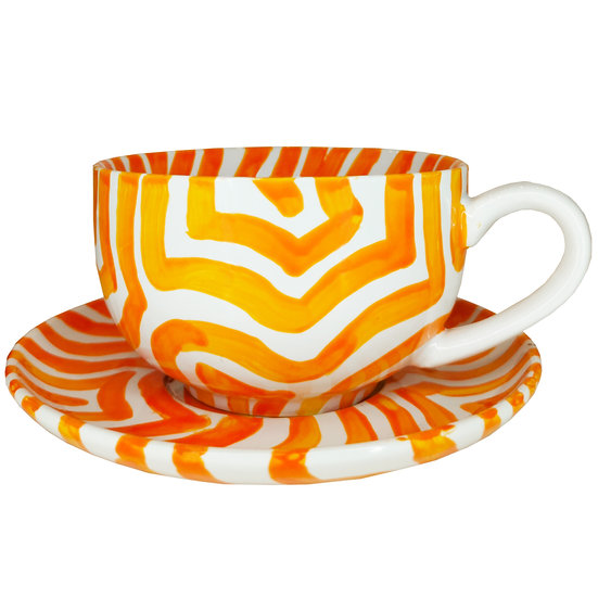 Personalised Orange Ceramic Espresso Cup and Saucer