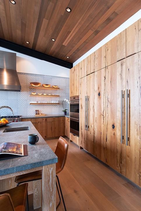 Sub Zero, Wolf, custom kitchen, mountain modern, floating shelves