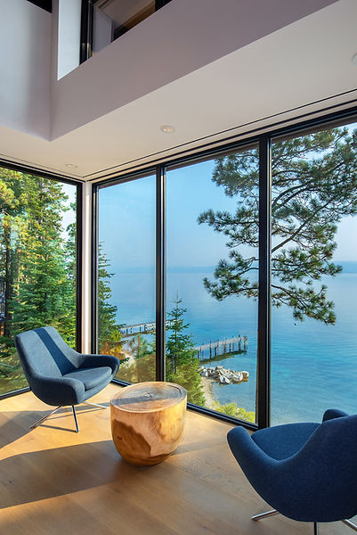 Tahoe lakefront, Noomi, interior design, living room, mountin modern