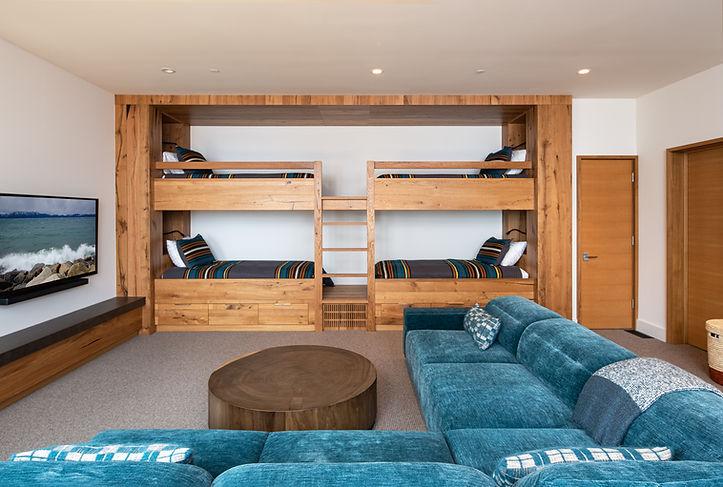 mountain modern, bunk bed, bunk room, Pendleton, Tahoe interior design, Tahoe