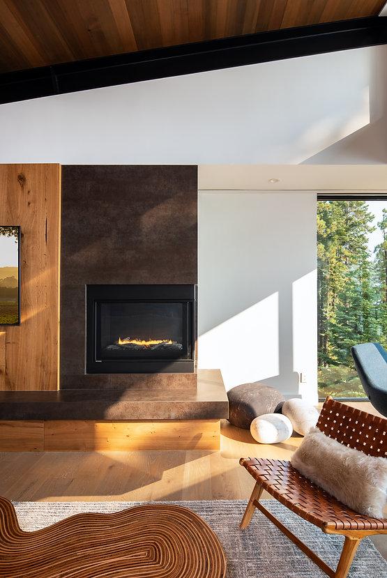 Tahoe, interior design, Noomi, mountain modern Montigo fireplace, Neolith