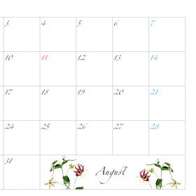 2021年カレンダー8月 A4ヨコ