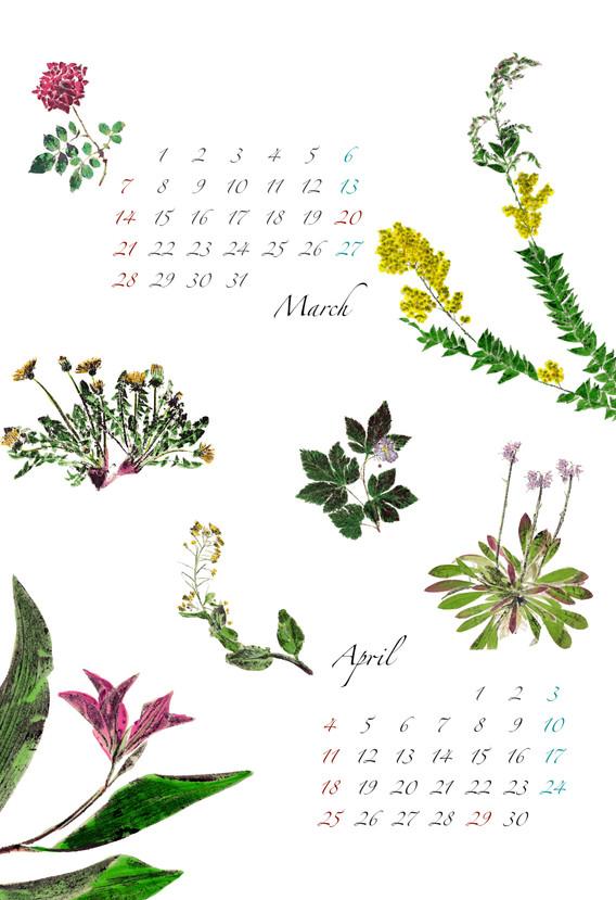 2021 B5フォト和紙カレンダー3・4月