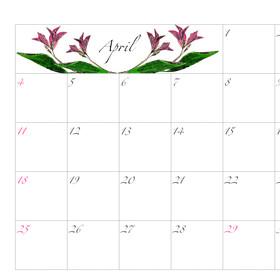 2021年カレンダー4月 A4ヨコ